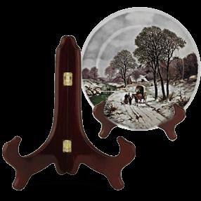Support assiette cadre miroir en bois 15cm
